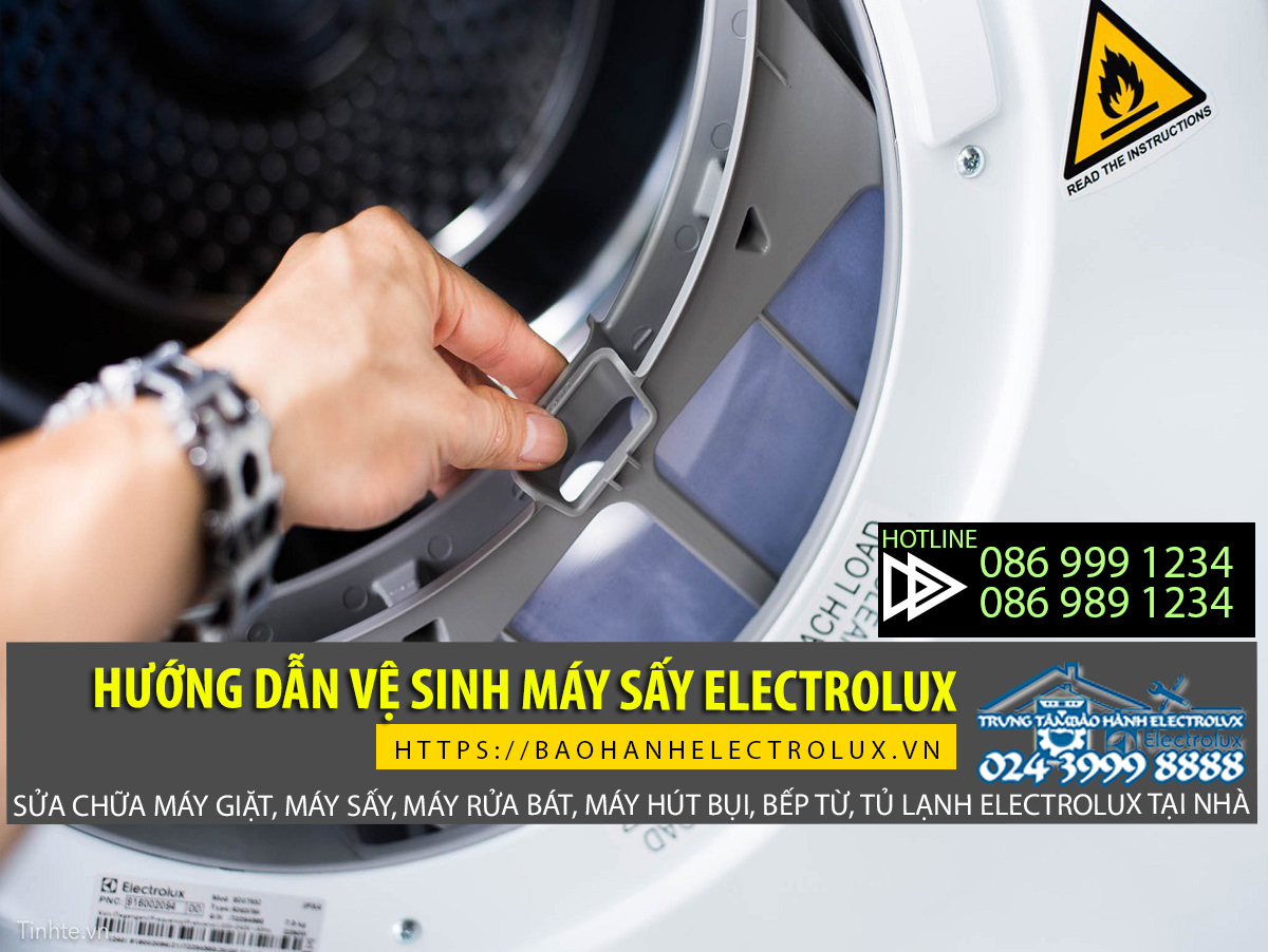 Vệ sinh máy sấy Electrolux không quên vệ sinh lưới lọc